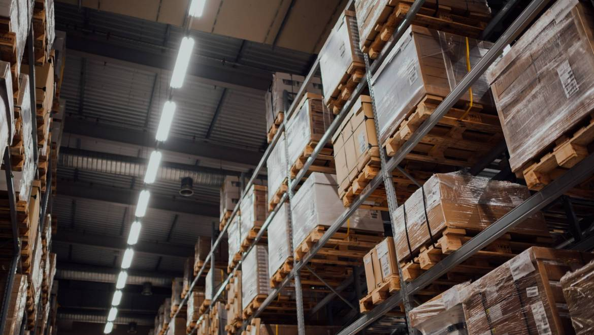 Racked pallets in a climate controlled warehouse