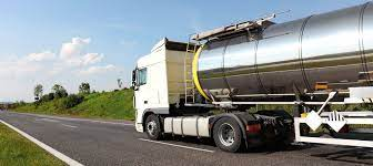Chemical transportation truck driving down the highway