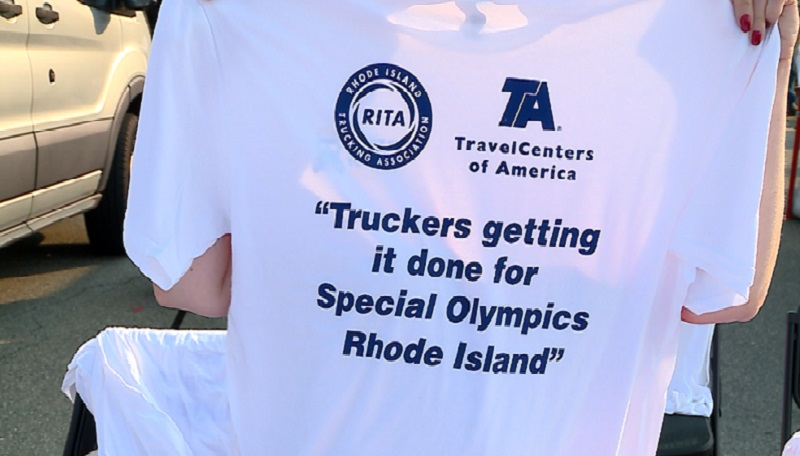 T shirt saying Truckers getting it done for special olympics in Rhode Island